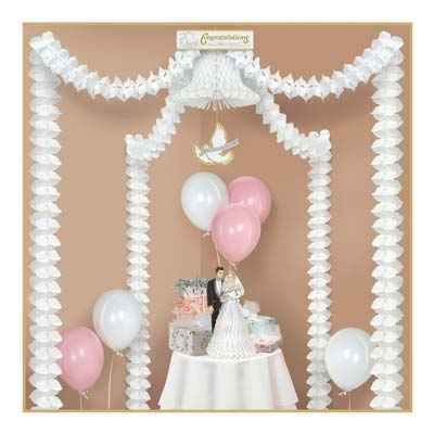 White Streamers Congratulations Party Canopy contains multiple decorations