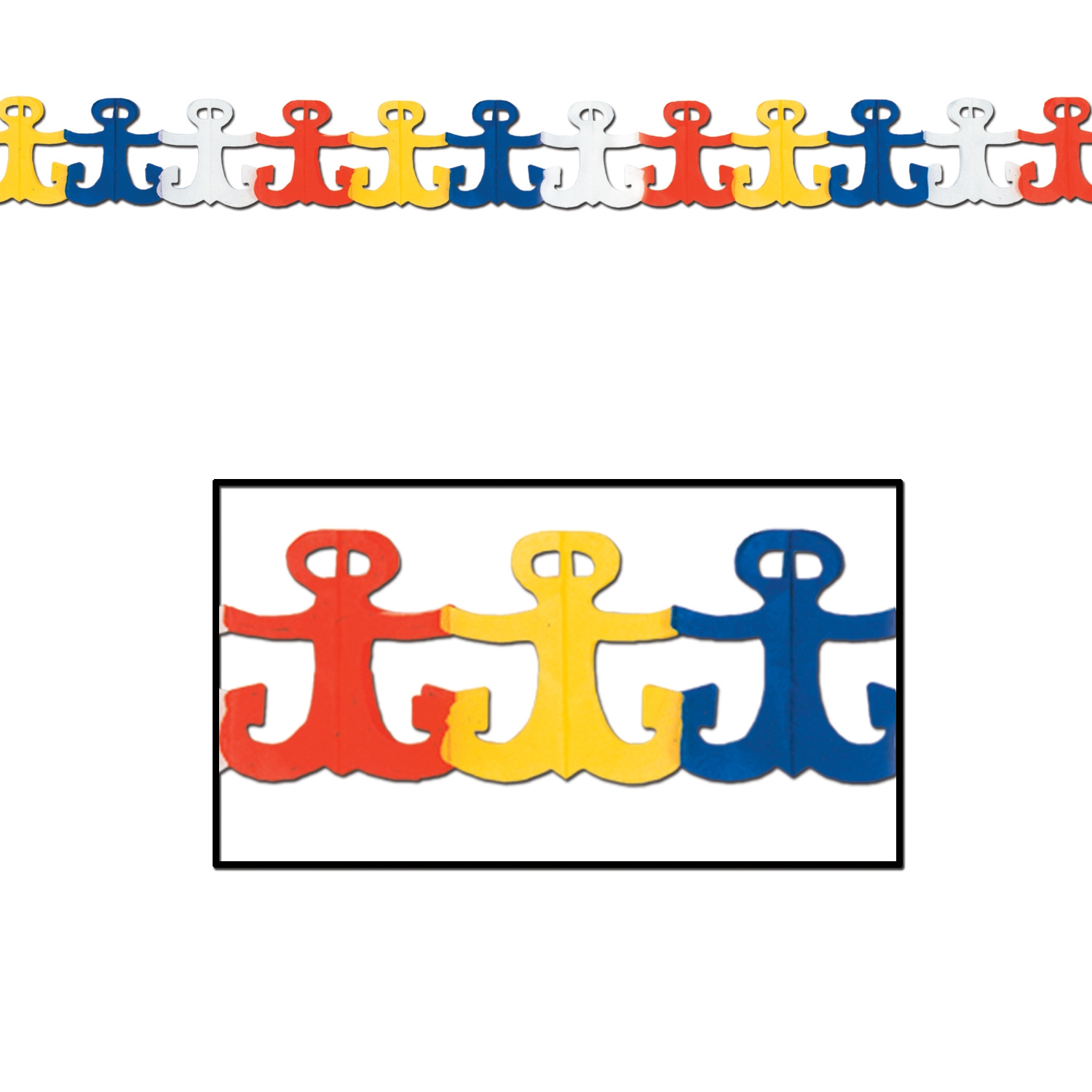 Anchor Garland (Pack of 12) Anchor, garland, nautical, luau, party, tissue, ocean, seas