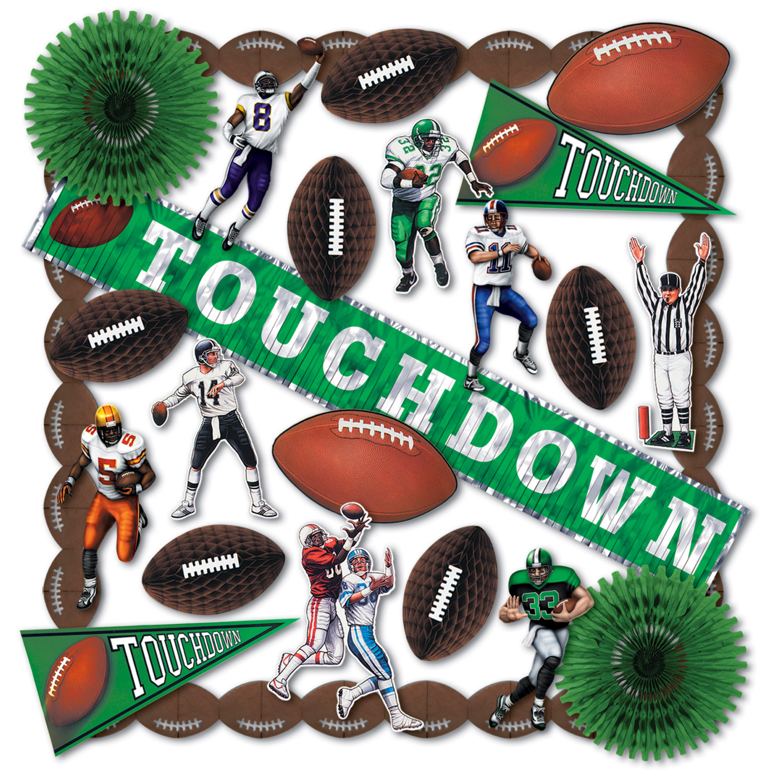 Touchdown Decorating Kit touchdown, decorating, kit, decorations, tissue, cutouts, football, pennant, figure, metallic, garlands, referee, green, white, black, brown, party, superbowl, playoffs, tailgating, fringe, banner,