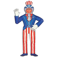 Jointed Uncle Sam (Pack of 12) Jointed Uncle Sam, july 4th, decoration, red, white, blue, wholesale, inexpensive, bulk, patriotic