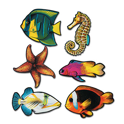 Assorted Fish, starfish, and seahorse Cutout wall decorations