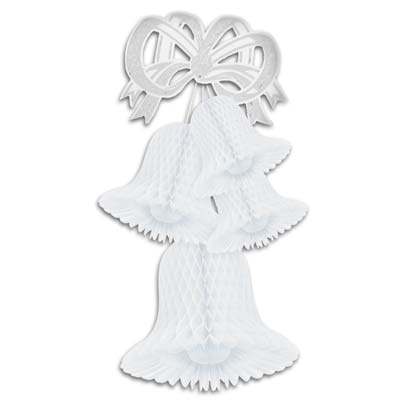 White Wedding Tissue Bell Cluster hanging decoration