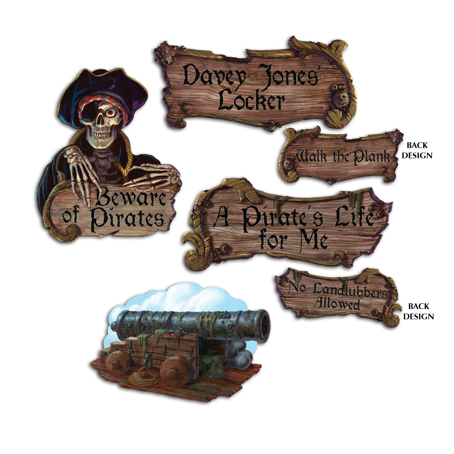 Pirate Cutouts (Pack of 48) Pirate Cutouts, Mini cutouts, Wall decor, Cheap pirate supplies, Skull Decor, Pirate Cannon, Pirate decor, Pirate party ideas, Birthday decorations, Wholesale party supplies, Inexpensive pirates