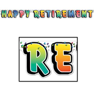 Colorful Happy Retirement Streamer
