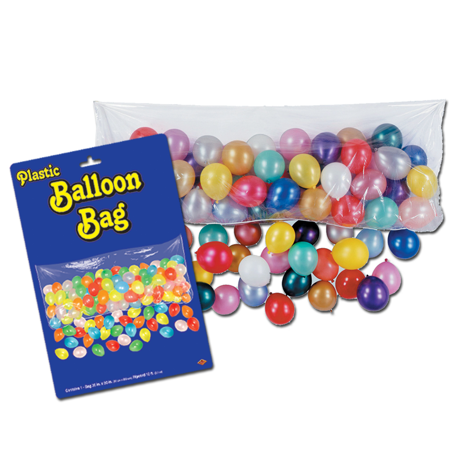 "Plastic Balloon Bag w/Balloons 3 x 6 8"" (Packed 1 Each) plastic, balloon, bag, with, balloons, party, pack, surprise, decoration, drop, kit,"