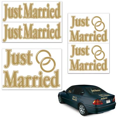 Gold Lettering Just Married Auto-Clings