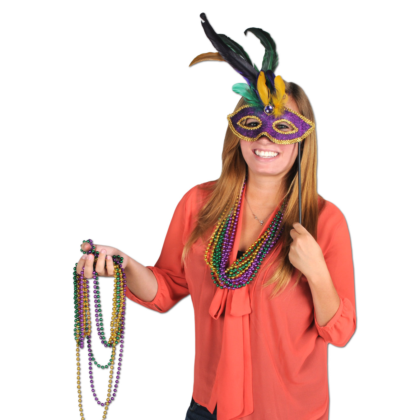 Feathered Mask w/Stick (Pack of 12) Feathered Mask with Stick, decoration, party favor, mardi gras, wholesale, inexpensive, bulk