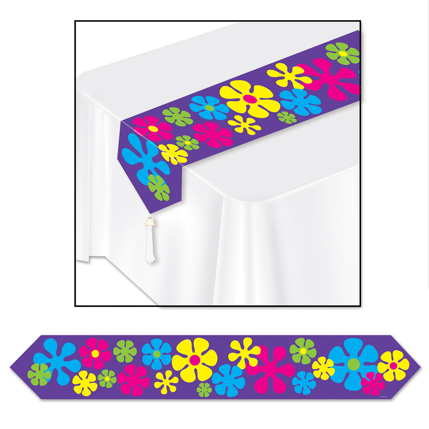 Printed Retro Flowers Table Runner (Pack of 12) Table runners, retro table runner, 60s, flowers, retro flowers, 60s flowers