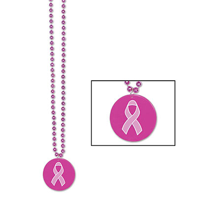Beads w/Printed Pink Ribbon Medallion (Pack of 12)
