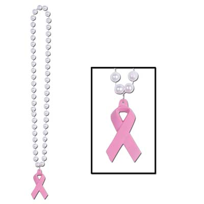 Beads w/Pink Ribbon Medallion (Pack of 12)