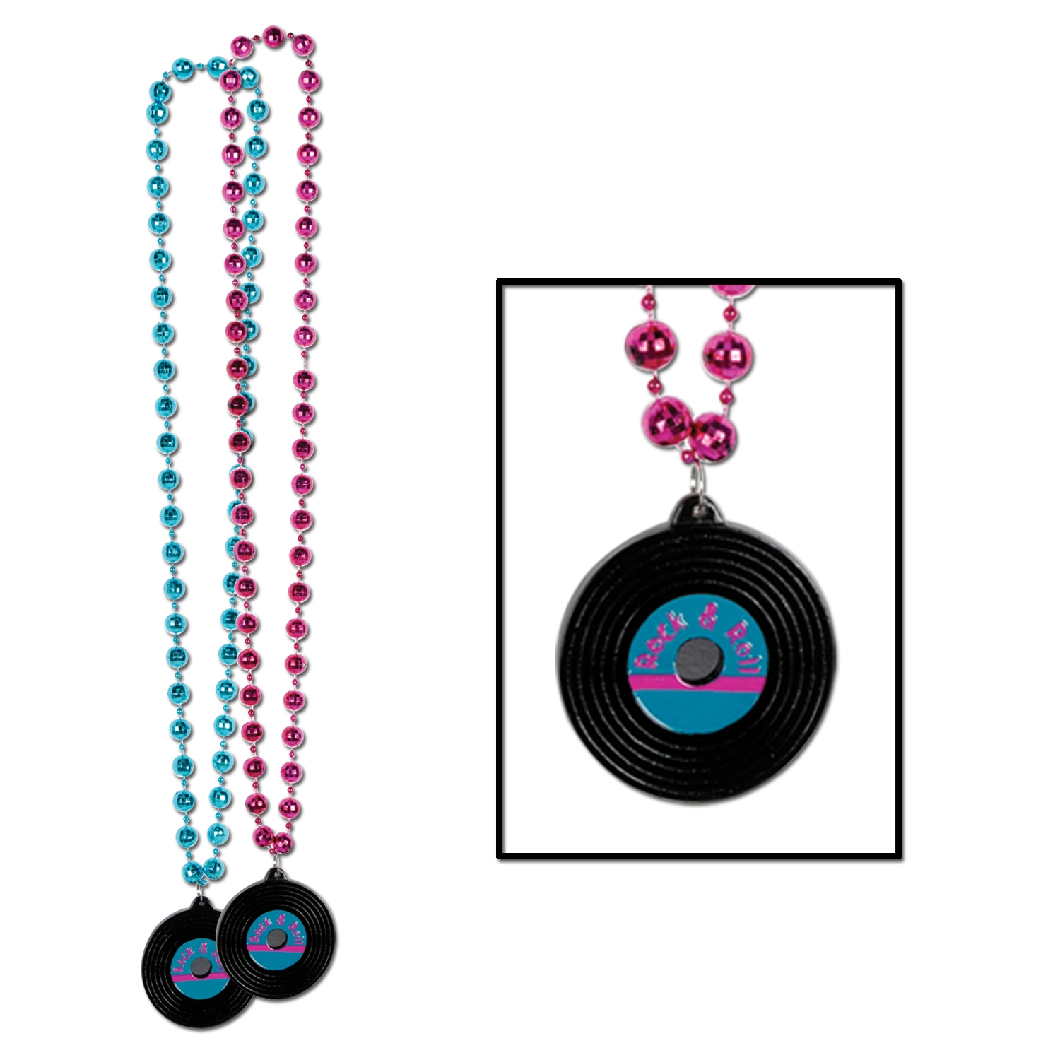 Beads w/Rock & Roll Record Medallion (Pack of 12) Rock and Roll, Beads, rock and roll beads, beads with record medallion, party beads