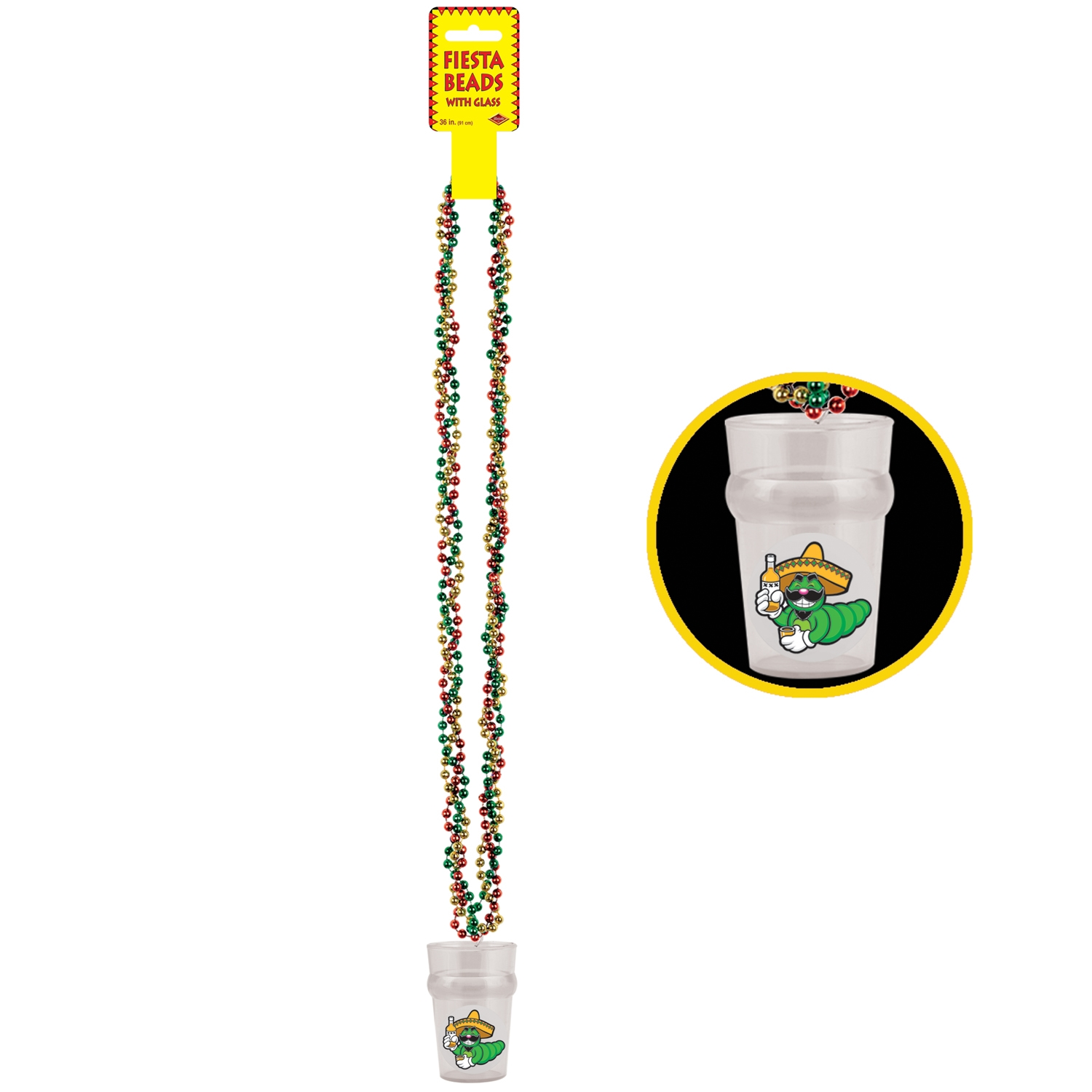 Braided Beads w/Fiesta Glass (Pack of 12) shot glass, braided, beads, neckace, tequila, worm, sinco de mayo, fiesta