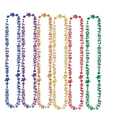 "21st  Birthday Beads-Of-Expression with multi-colored molded ""Happy 21st Birthday""."