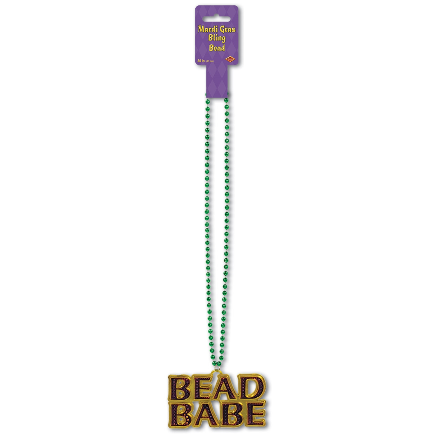 Beads w/Bead Babe Medallion (Pack of 12) Beads with Bead Babe Medallion, beads, mardi gras, party favor, wholesale, inexpensive, bulk