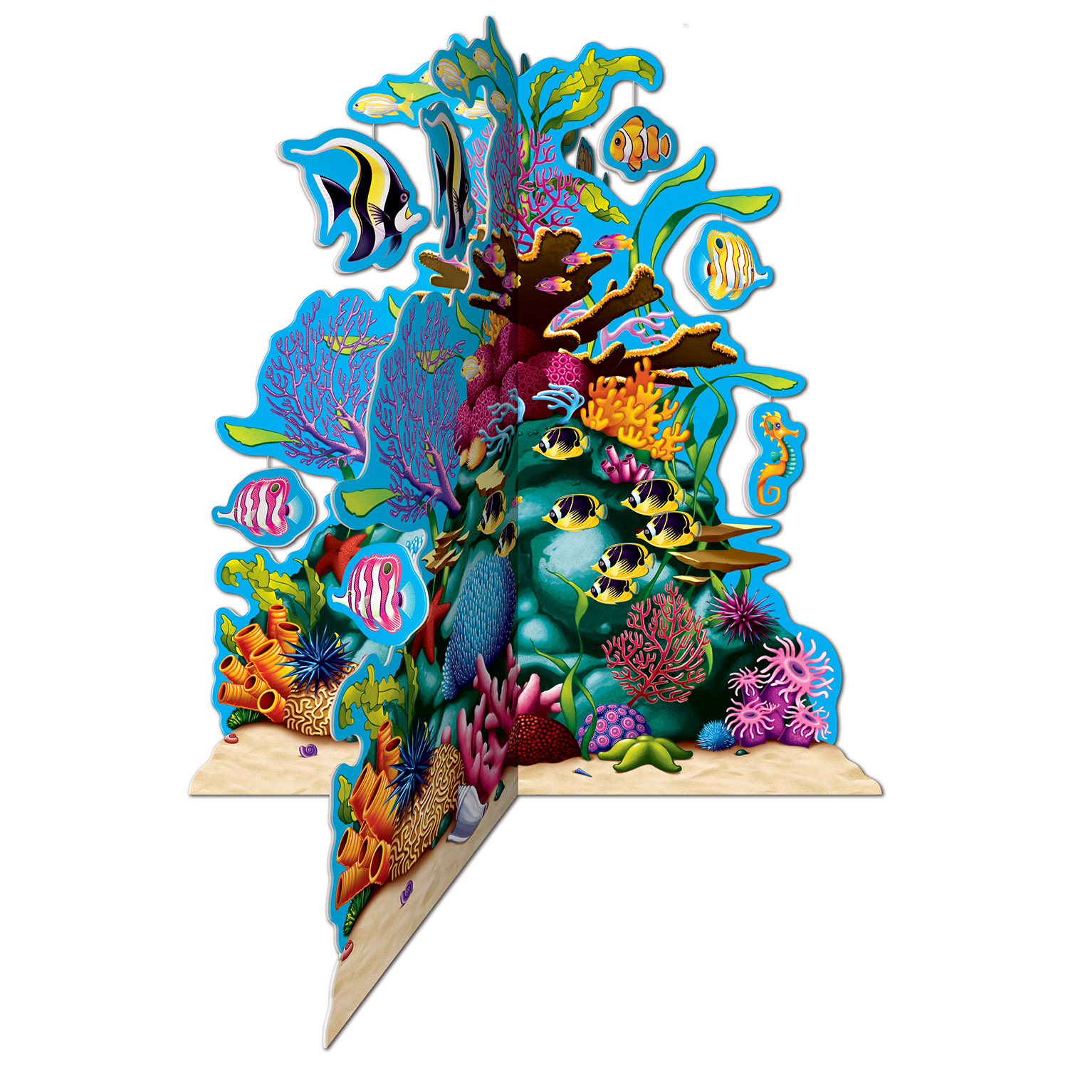 3-D Coral Reef Centerpiece (Pack of 12) 3-D Coral Reef Centerpiece, decoration, inexpensive, wholesale, bulk, ocean, luau, new years eve