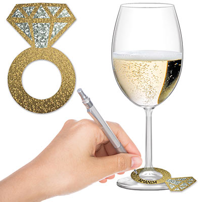 Diamond Ring Wine Glass Markers goes around your wine glass to add your name too for acknowledge of your glass,
