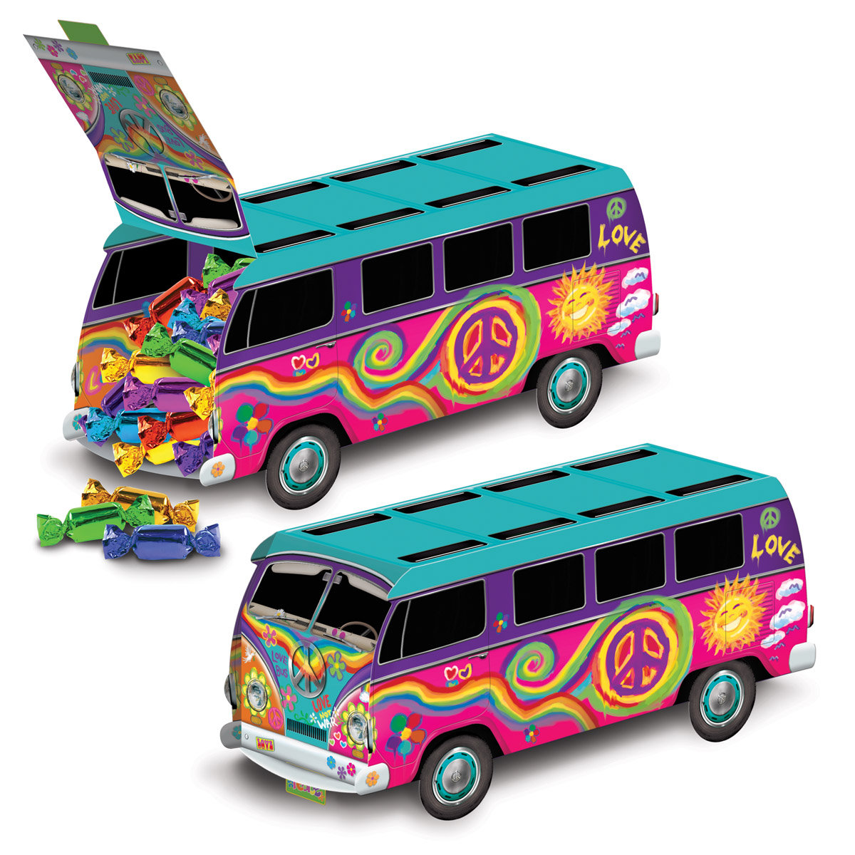 60s Bus Centerpiece (Pack of 12) 1960s Decor, Bus Centerpiece, Groovy decorations, 3-D table decor, Inexpensive centerpiece, Cheap party supplies, Wholesale decorations, Party Bus