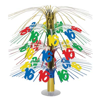 "The 16 Cascade Centerpiece is made of assorted colored stands with ""16"" icons cascading down."