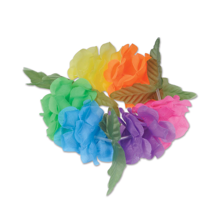 Wholesale hawaiian party leis wristbands page 2 silk n petals big island headband pack of 12 handband flowers colors izmirmasajfo