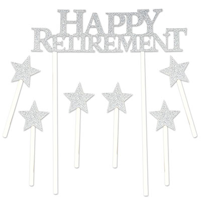 "The Happy Retirement Cake Topper has a glittered ""Happy Retirement"" focus piece with six star pieces included."