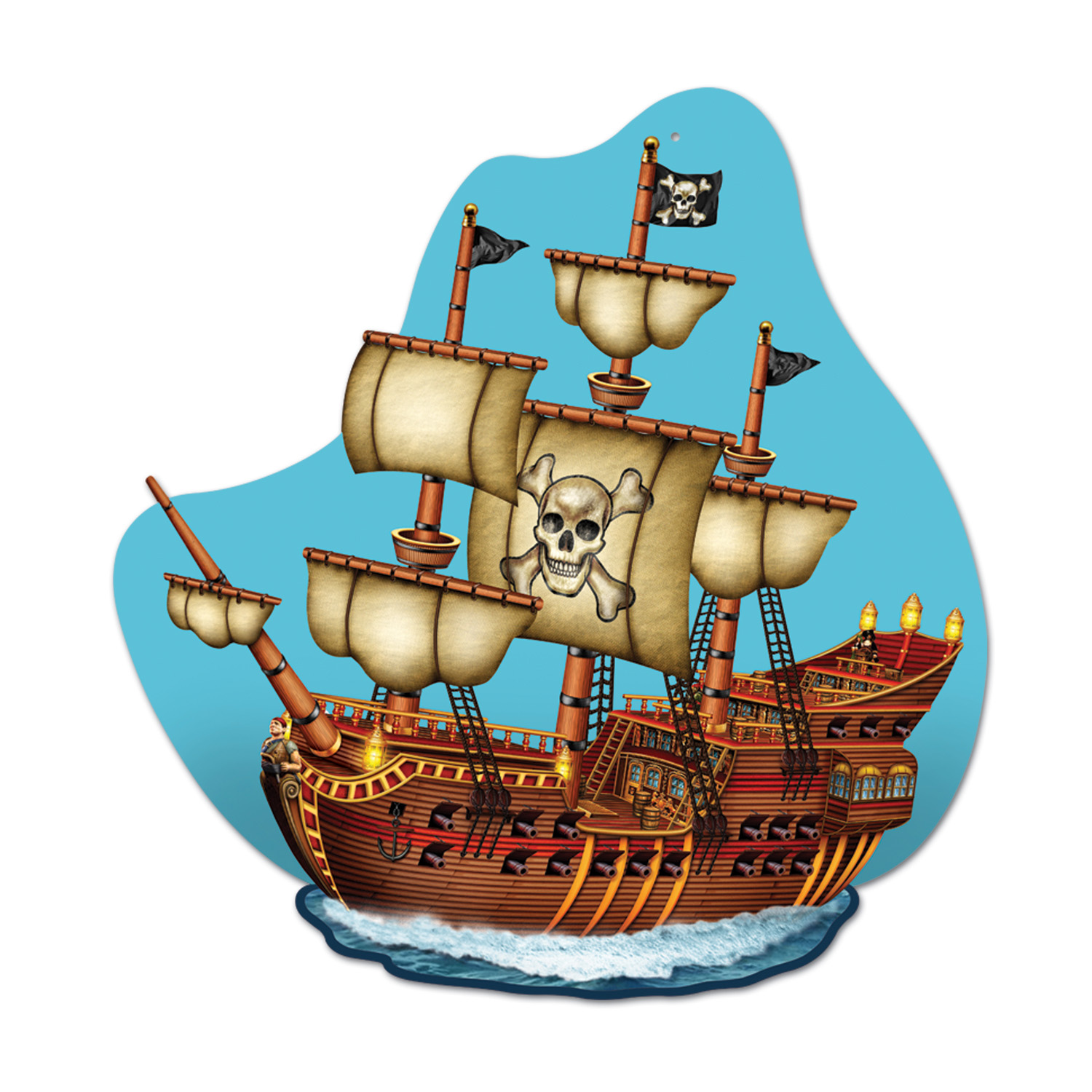 Pirate Ship Wall Plaque (Pack of 12) Pirate Ship Wall Plaque, decoration, pirate, new years eve, halloween, wholesale, inexpensive, bulk