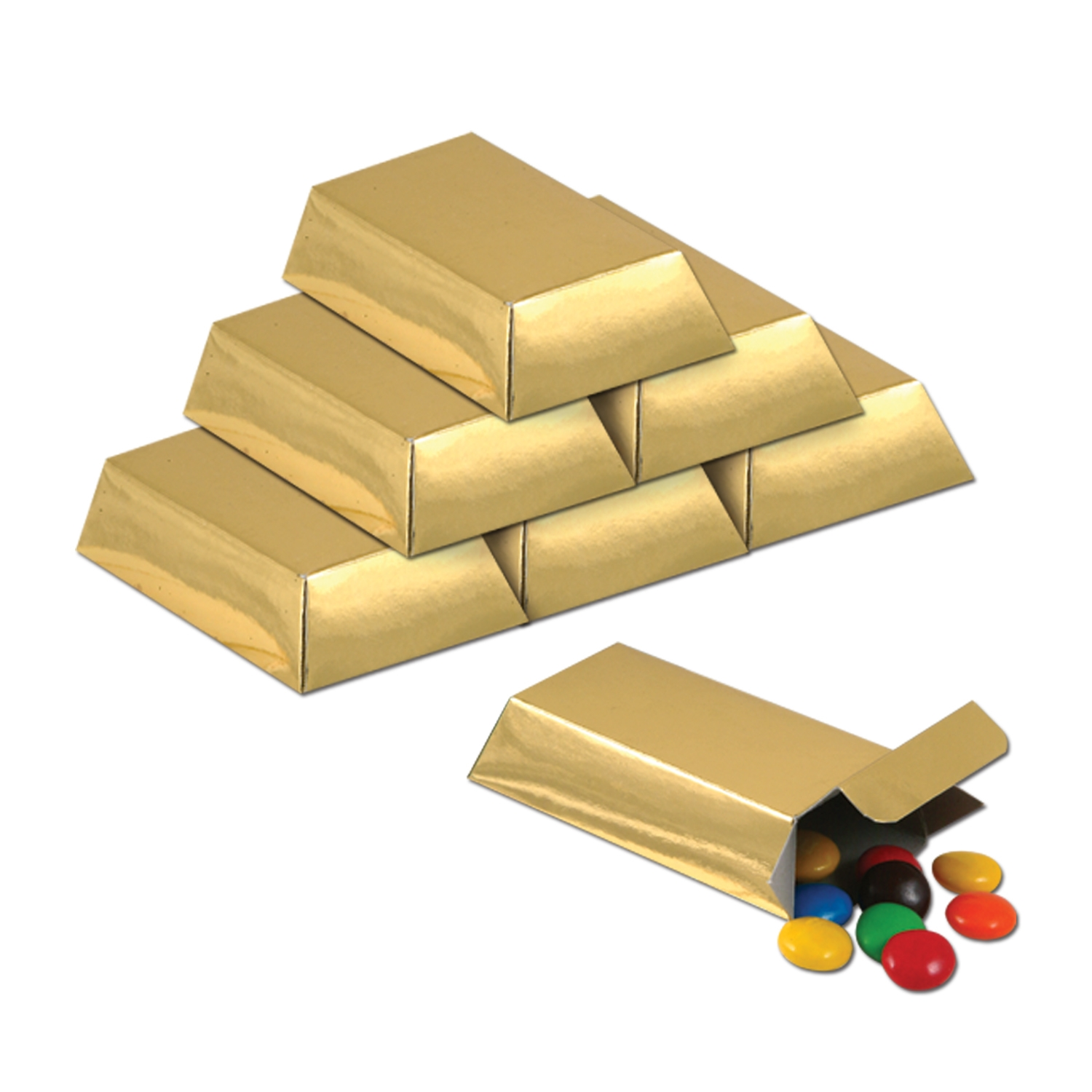 Foil Gold Bar Favor Boxes (Pack of 144) gold, favor boxes, candy boxes, gold bars, party favors