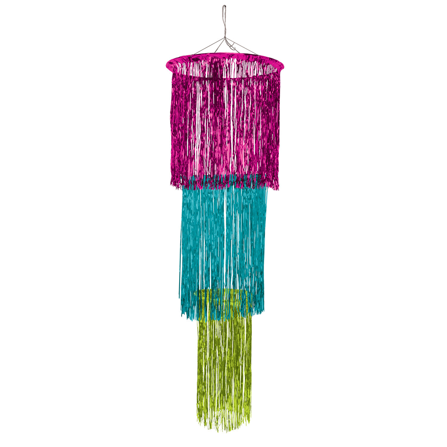 3-Tier Cerise, Light Green, and Teal Shimmering Chandelier (Pack of 6) Chandelier, Cerise, Turquoise, Light Green, Shimmering, Luau, Summer, Party