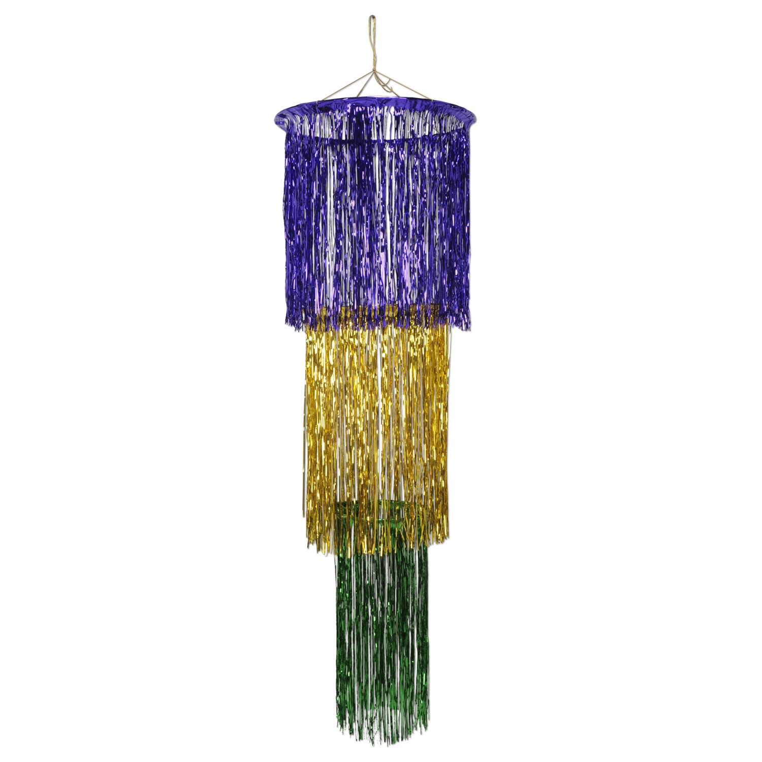 3 Tier Mardi Gras Shimmering Chandelier Pack Of 6 Green Purple