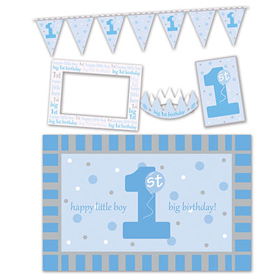 1st Birthday High Chair Decorating Kit of a crown, banner and more for a little boy.