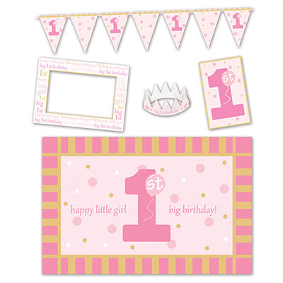 1st Birthday High Chair Decorating Kit of a crown, banner and more for a little girl.