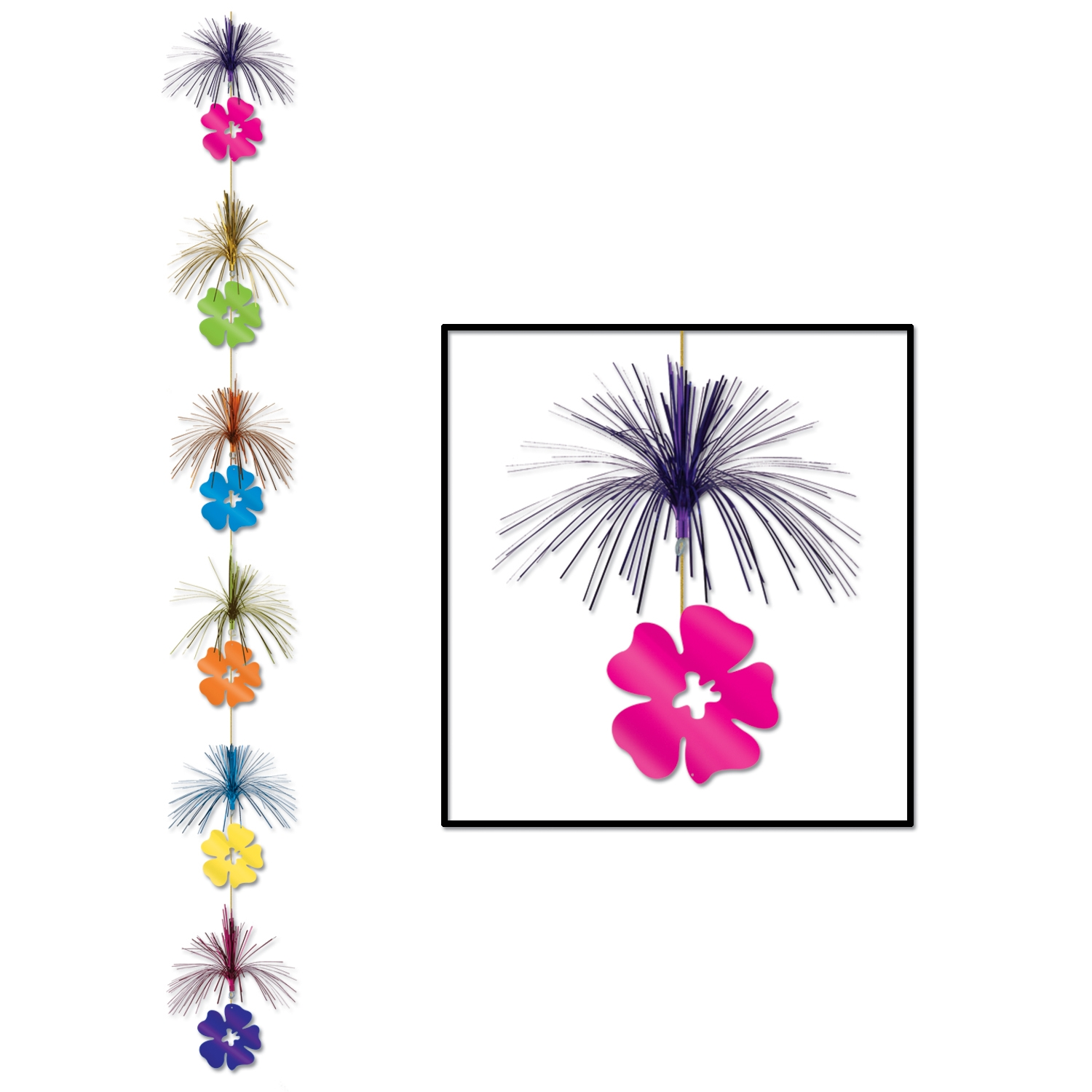 Hibiscus Firework Stringer (Pack of 12) Hibiscus Firework Stringer, decoration, luau, new years eve, wholesale, inexpensive, bulk