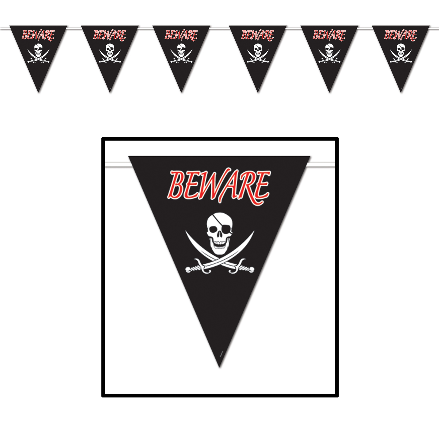 Beware Of Pirates Giant Pennant Banner (Pack of 12) Beware Of Pirates Giant Pennant Banner, decoration, pirate theme, new years eve, halloween, inexpensive, wholesale, bulk