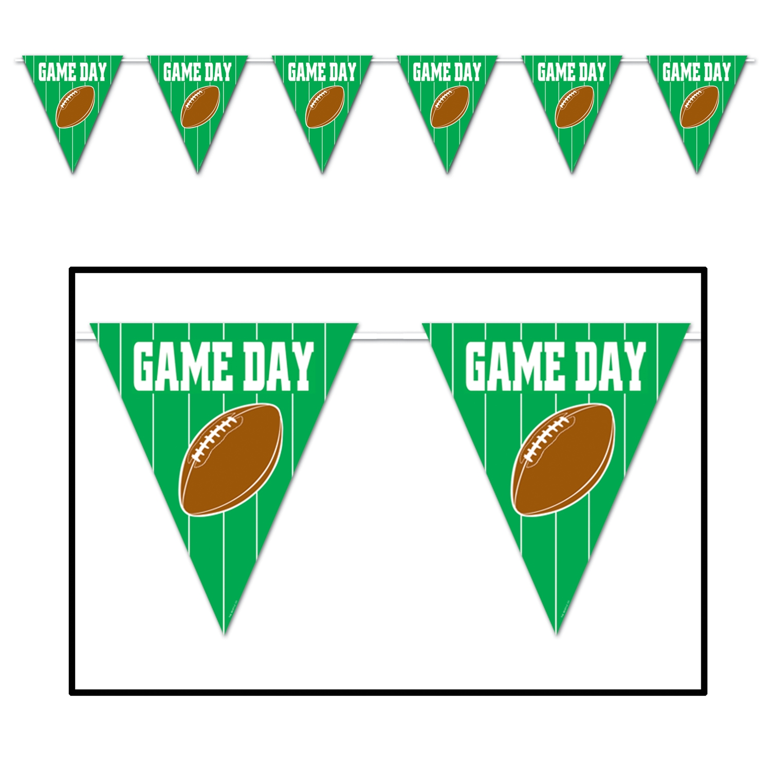 Game Day Football Giant Pennant Banner (Pack of 12) Game Day Football Giant Pennant Banner, decoration, football, superbowl, big game, wholesale, inexpensive, bulk