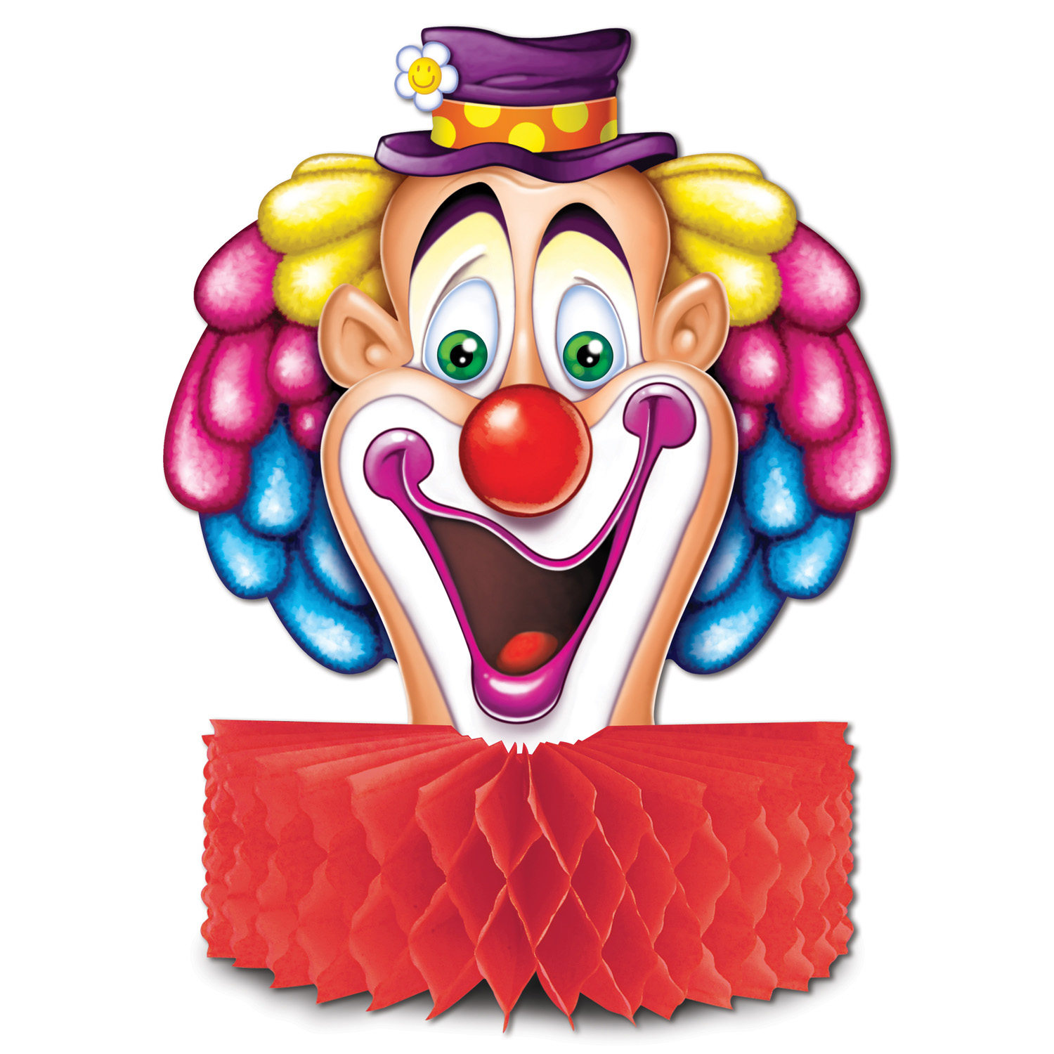 Clown Centerpiece (Pack of 12) Clown Centerpiece, Tissue Decor, Circus decorations, Multi-Color party supplies, Wholesale party goods, Cheap decorations, Clown centerpieces, Clown Face