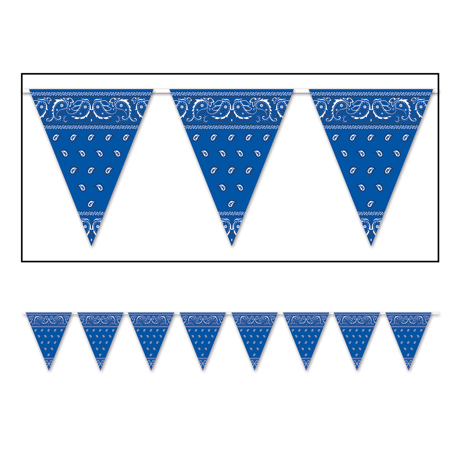 Bandana Pennant Banner (Pack of 12) Bandana Pennant Banner, western, new years eve, blue, deocration, wholesale, inexpensive, bulk