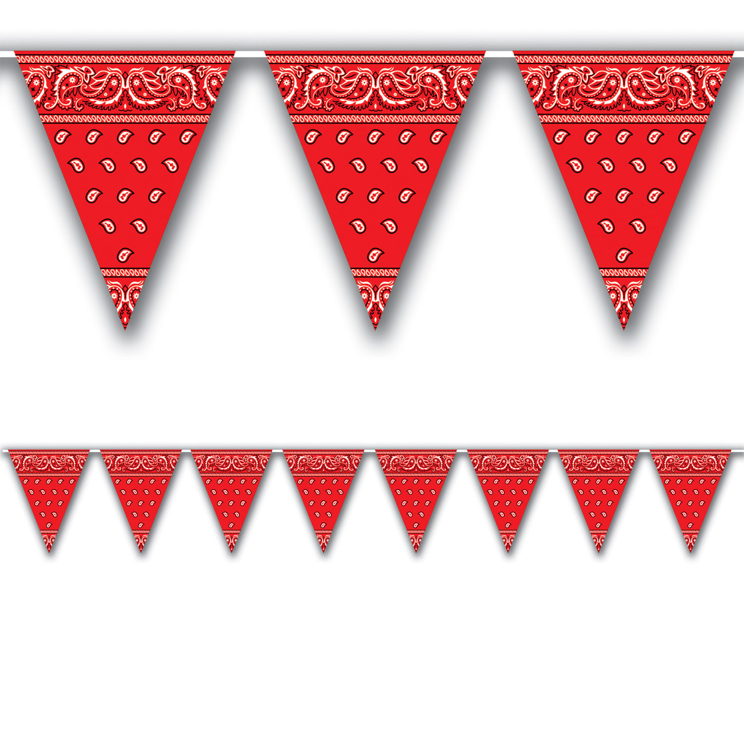 Bandana Pennant Banner (Pack of 12) Bandana Pennant Banner, bandana, banner, western, decoration, red, wholesale, inexpensive, bulk