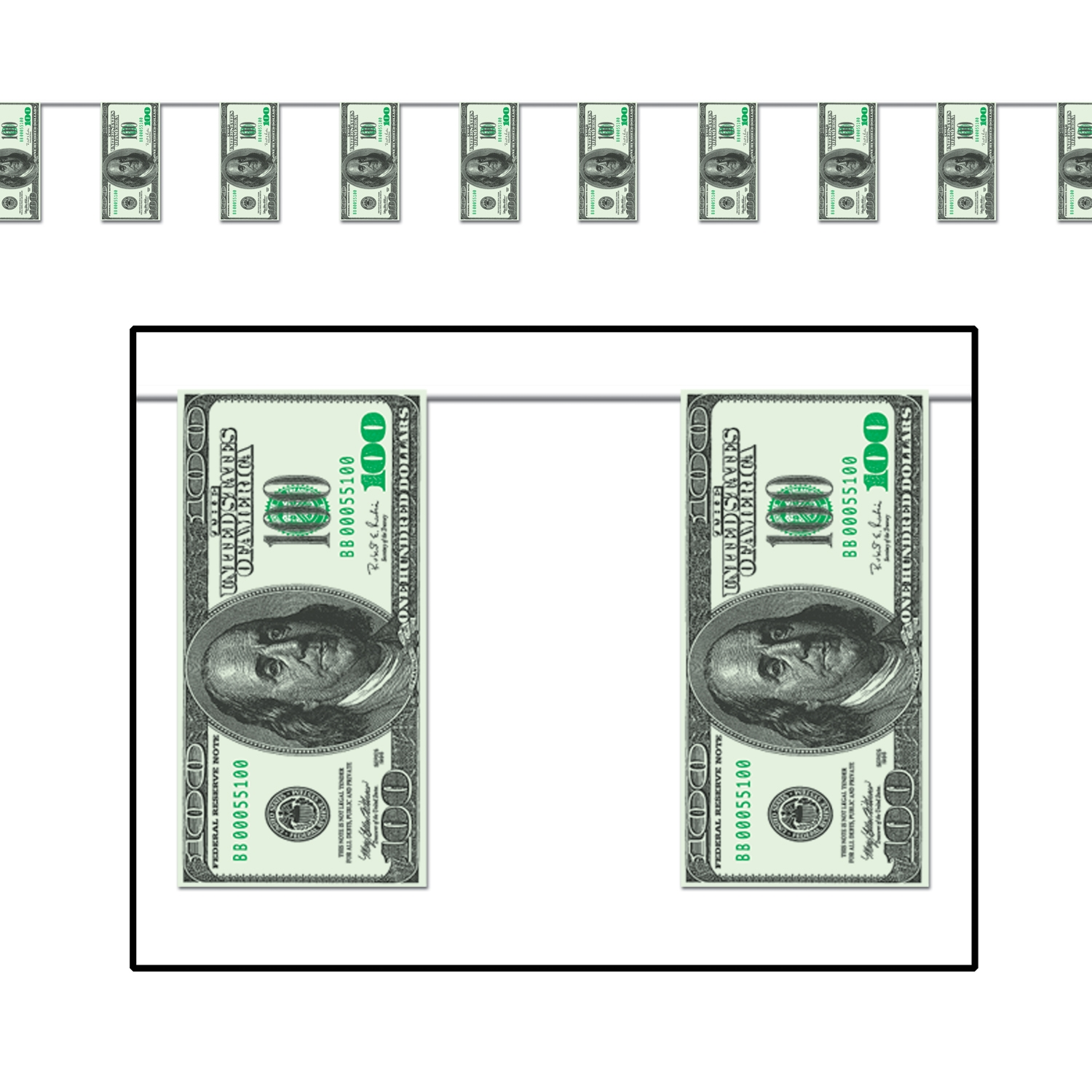 $100 Bill Pennant Banner (Pack of 12) money, banner, big bucks, $100, rich