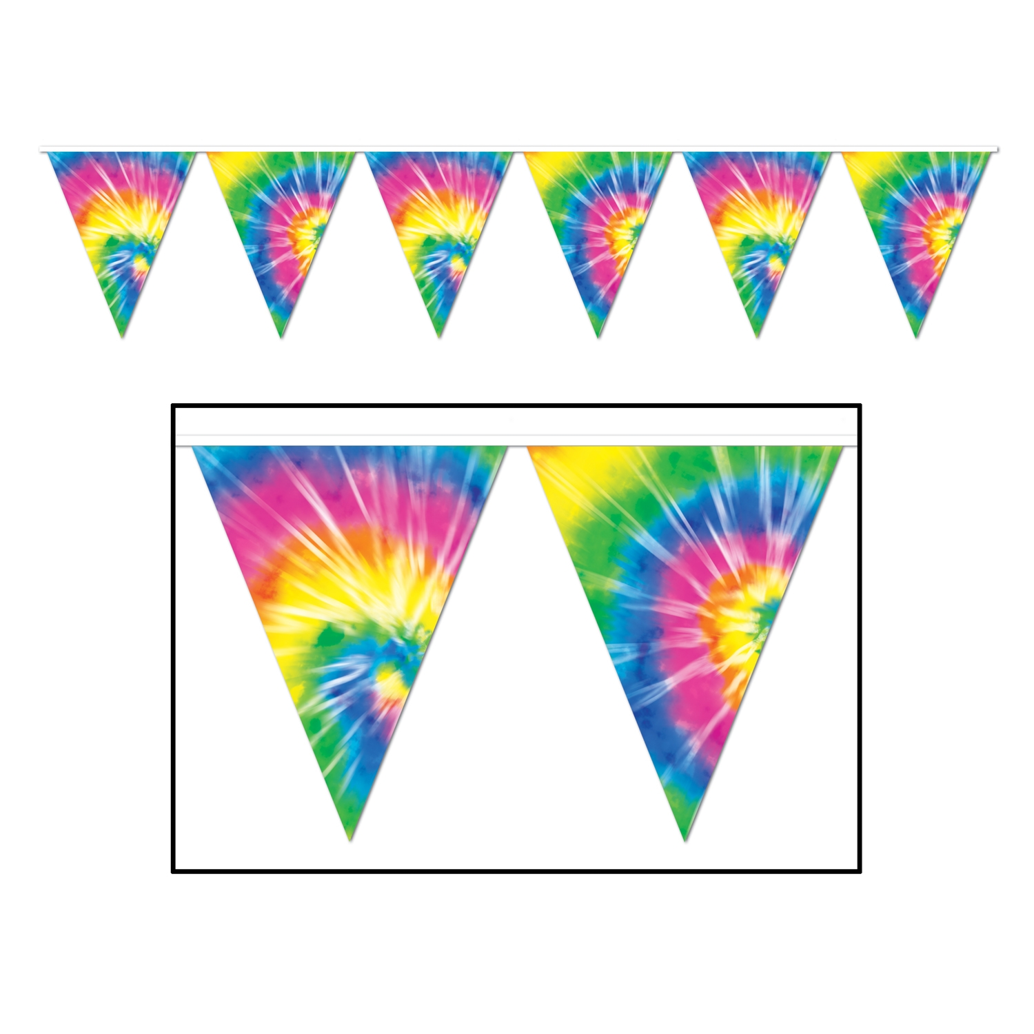 Tie-Dyed Pennant Banner (Pack of 12) Tie-Dyed Pennant Banner, decoration, 1960s, 60s new years eve, halloween, wholesale, inexpensive, bulk