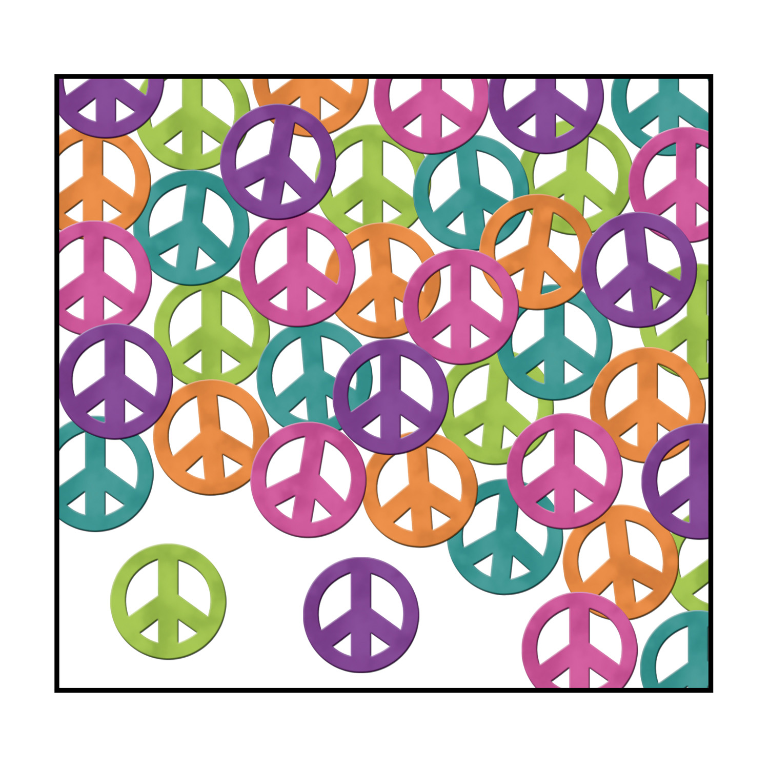 Fanci-Fetti Peace Signs (Pack of 12) Fanci-Fetti, Peace Sign, 1960s Decor, Wholesale party supplies, Cheap peace signs, Groovy decorations, Cheap decor, Retro supplies