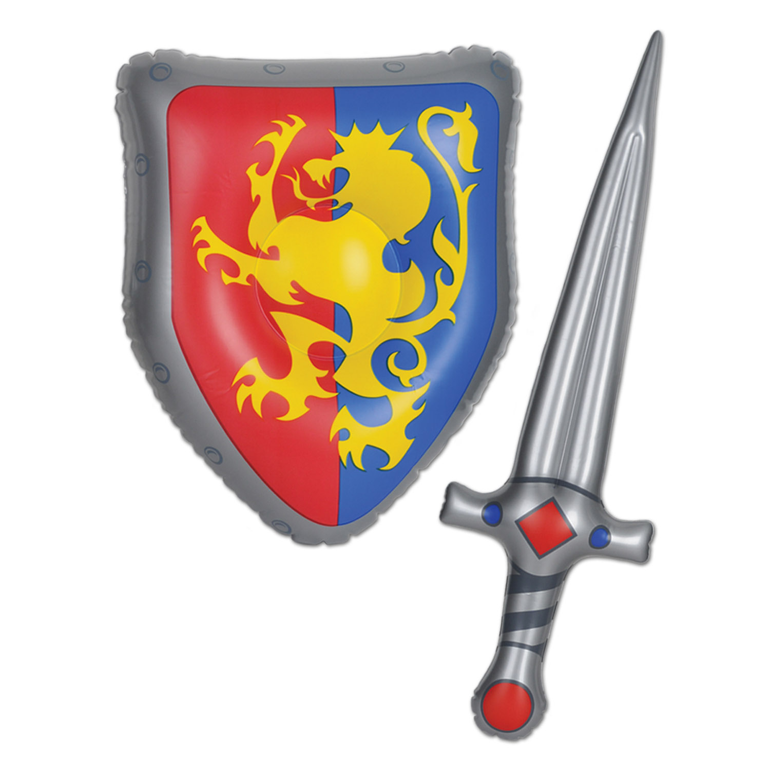 Inflatable Sword & Shield Set (Pack of 6) Knights, dragons, sword, shield, fair maden, medieval
