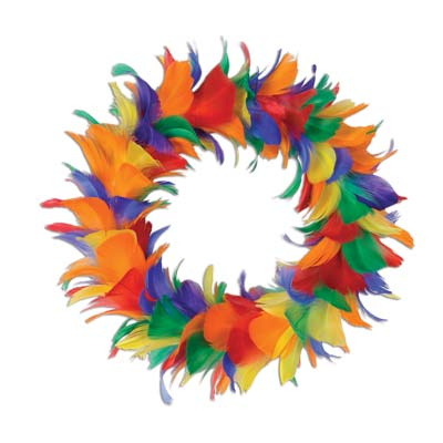 "8"" Feather Wreath (Pack of 6) Feather Wreath, Rainbow decorations, Inexpensive party decorations, Wholesale party supplies, Pride decorations, Birthday decor, Multi-color wreath"