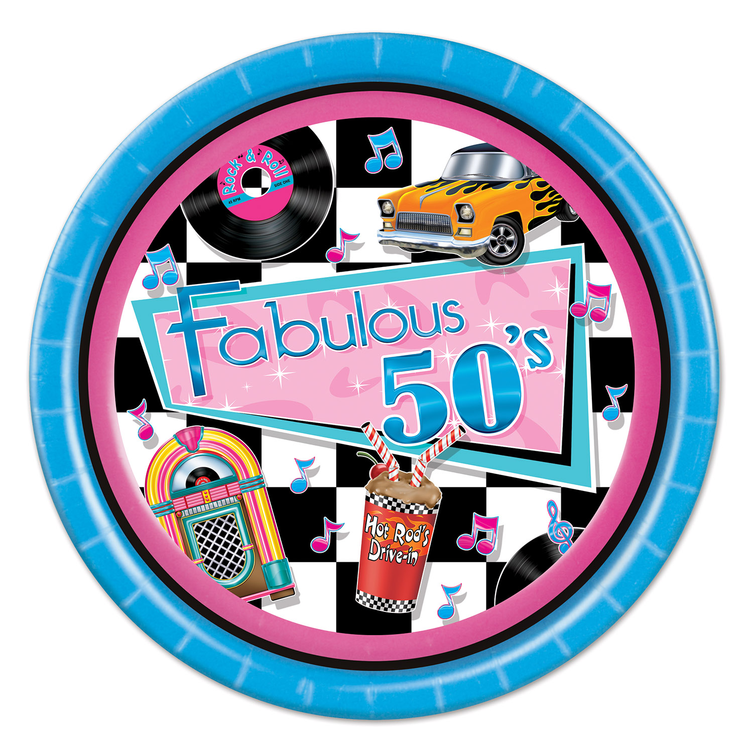 Fabulous 50s Plates Pack Of 96 Rock And Roll Paper