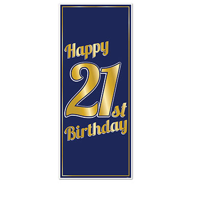 Navy blue with Gold lettering 21st Birthday Door Cover