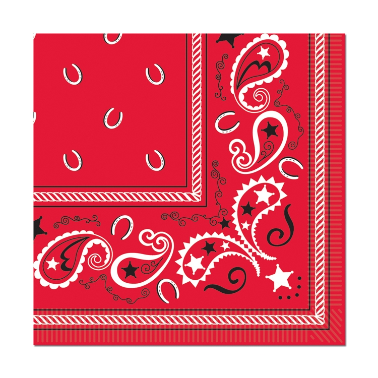 Bandana Beverage Napkins (Pack of 192) Bandana Beverage Napkins, bandana, napkins, decoration, new years eve, western, red, wholesale, inexpensive, bulk