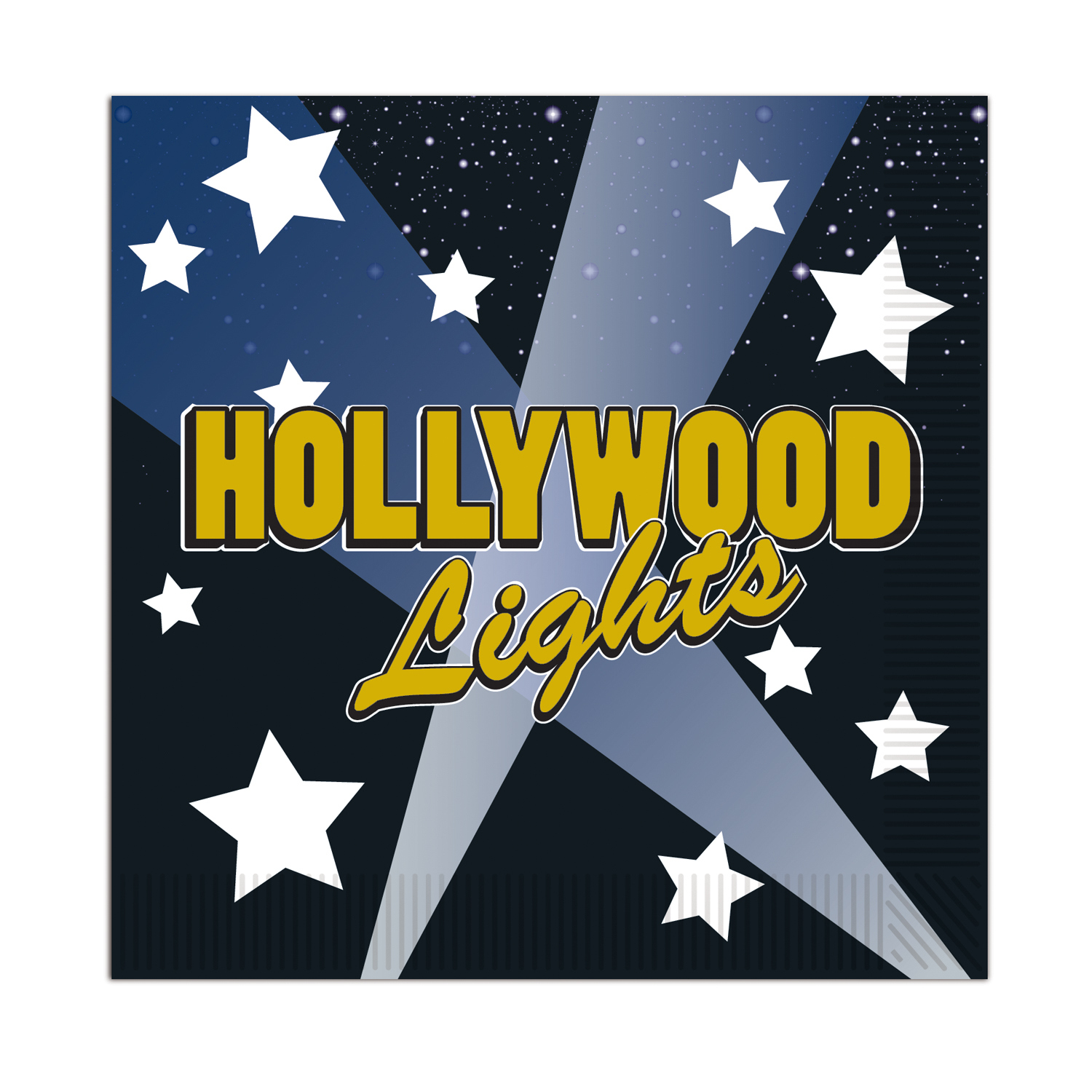 Hollywood Lights Beverage Napkins (Pack of 12) Hollywood Lights Beverage Napkins, decoration , food, buffet, hollywood, new years eve, wholesale, inexpensive, bulk