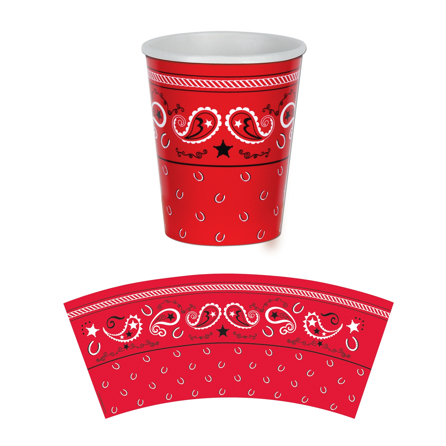Bandana Beverage Cups (Pack of 12) Bandana Beverage Cups, bandana, cups, western, new years eve, decoration, wholesale, inexpensive, bulk, cowboy, cowgirl