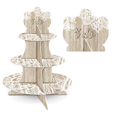 Lace and wood printed cupcake stand.