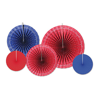 Paper fans printed to replicate red and blue bandanas.