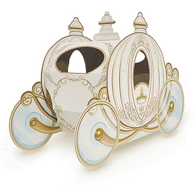 Centerpiece designed to replicate a carriage in white with gold accents.