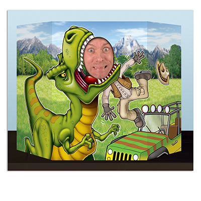 Photo prop printed with a dinosaur including a face hole for your guests to take photos with.